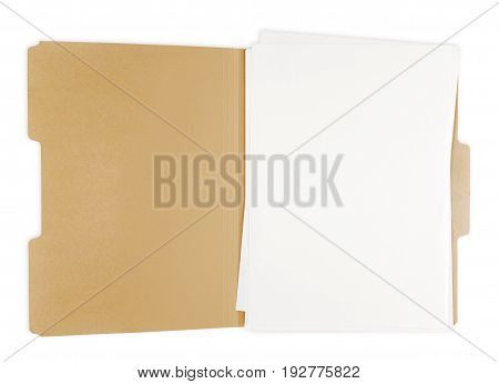 Paper file folder yellow white background object