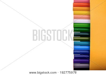 Many Colored Pencils Isolated On White Background, Place For Text