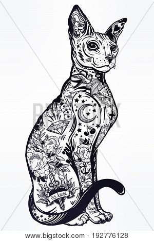 Vintage style beautiful gothic cat with body decorated in traditional flash art tattoos. Character tattoo design for kitty pet lovers, artwork for print and textiles. Isolated vector illustration.