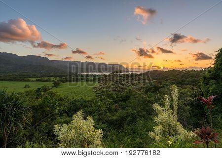 View over Hanalei bay and Na Pali range at sunset near Hanalei, Kauai, Hawaii