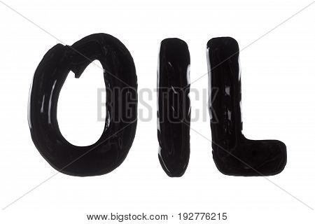 Written texture crude text oil. Concept idea for the energy and extractive industries. Pollution of the environment. Isolated on white.