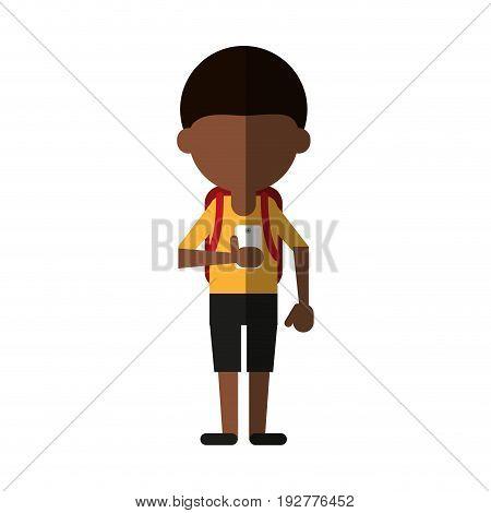 faceless student using smartphone icon image vector illustration design