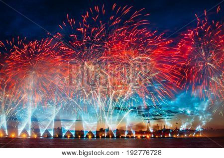Salutes And Fireworks Over The River Neva In The White Night.