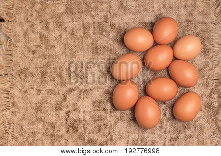 Top view of eggs on the sackcloth