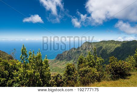 High definition panorama over Kalalau Valley at Kalalau overlook, Kauai, Hawaii