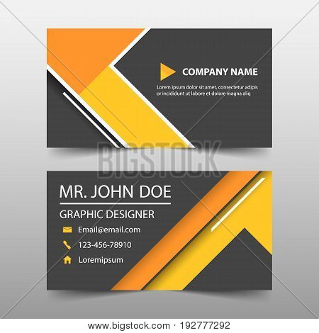 Orange triangle corporate business card name card template horizontal simple clean layout design template Business banner template for website