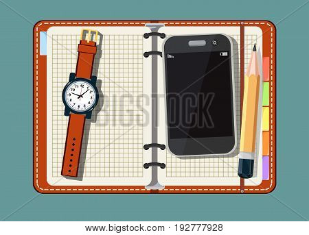 Office stuff with notepad, smart phone, and watch on a background . A top view shot . Flat design notepad with place for text.