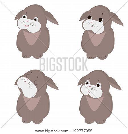 Little cute hare. Vector flat illustration for print.Emotion.