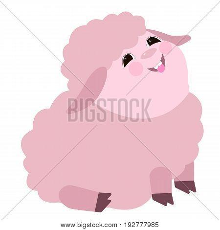 Vector flat illustration with cute lamb. Cartoon animal. Laughing lamb. Joy.
