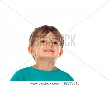 Cute child with four years old isolated on a white background