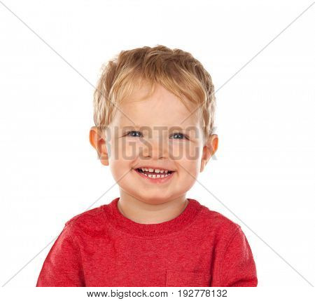 Beautiful little child two years old laughing isolated on a white background