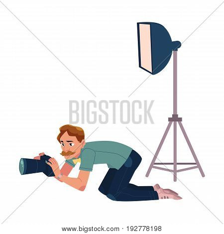 Photographer taking pictures, shooting from low angle, kneeling, cartoon vector illustration on white background. Professional photographer, photo journalist, reporter crunching, kneeling on ground