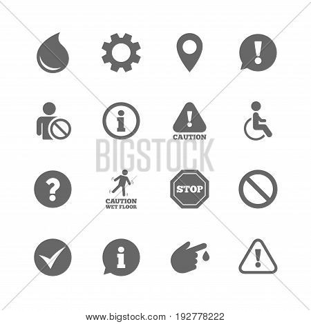 Set of Attention, Information and Caution icons. Question mark, warning and stop signs. Injury, disabled person and tick symbols. Isolated flat icons set on white background. Vector