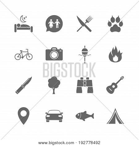 Set of Travel, Hiking and Camping icons. Fishing, Biking and WC toilet signs. Tourist tent, Food and Bed symbols. Photo and Rent a car. Isolated flat icons set on white background. Vector