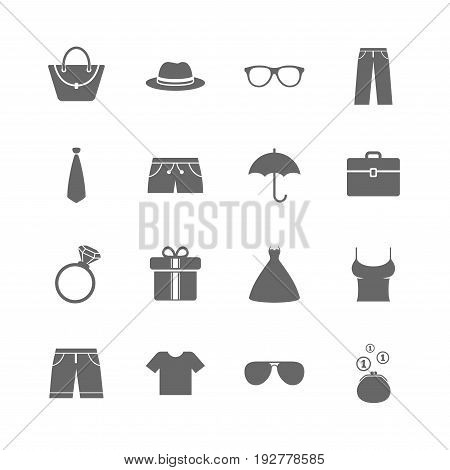 Set of Clothes, Accessories and Glasses icons. Shirt, Umbrella and Hat signs. Wallet, Handbag and Briefcase symbols. Isolated flat icons set on white background. Vector