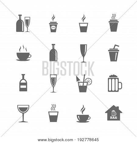 Set of Drinks, Beer and Cocktails icons. Coffee, Tea and Alcohol drinks. Wine bottle, Glass and Bar symbols. Isolated flat icons set on white background. Vector