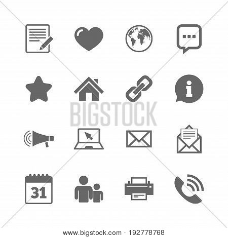 Set of Communication, Conference and Information icons. E-Mail, Printer and Internet signs. Speech bubble, Support and Phone call symbols. Isolated flat icons set on white background. Vector