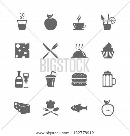 Set of Food and Drinks icons. Restaurant meal, Wine and Cheese signs. Burger, Coffee and Beer symbols. Isolated flat icons set on white background. Vector