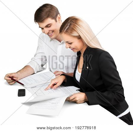 Business sitting discussing table white computer view