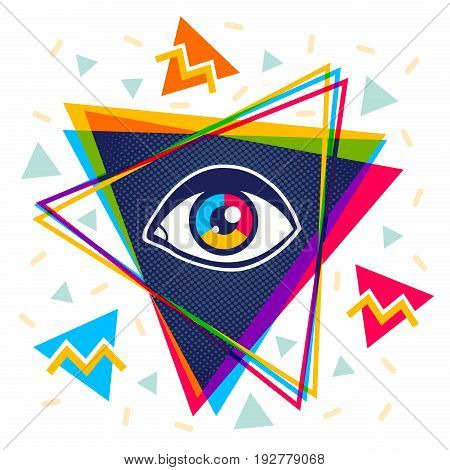 Vector vintage pyramid with eye in 90's style. Vintage vector poster with pyramid and eye.