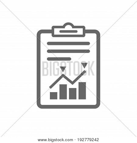 Project management icon. Report document symbol. Accounting file with charts symbol. Isolated flat icon on white background. Vector