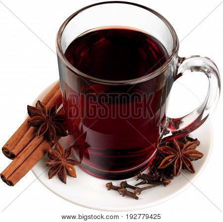 Red isolated hot wine mulled mulled wine copy space