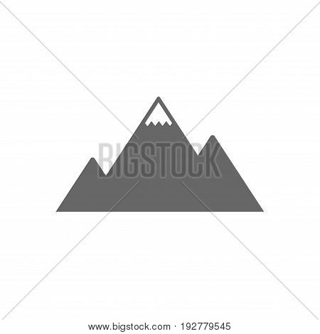Mountain icon. Mountaineering sport sign. Leadership motivation concept. Isolated flat icon on white background. Vector