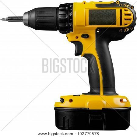 Drill bit cordless white background object isolated