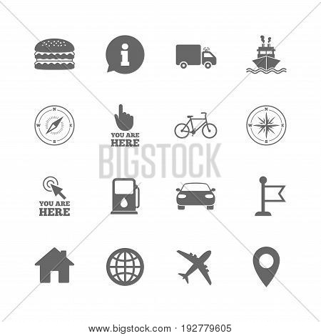 Set of Navigation and Gps icons. Windrose, Compass and Burger signs. Bicycle, Ship and Car symbols. Location pointer and flag. Isolated flat icons set on white background. Vector
