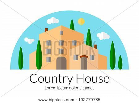 Country house flat design. Countryside villa template. Beautiful Italian style palace with cypress trees. Agricultural landscape concept. EPS 10 vector illustration isolated on white background.