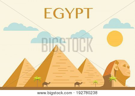 Concept of Egyptian pyramids in desert vector
