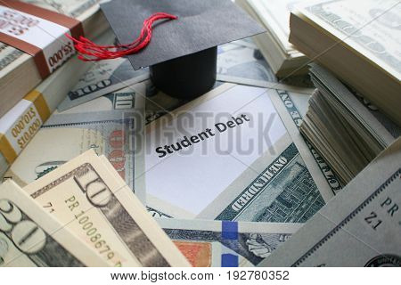Student Debt With Money &  Graduation Cap High Quality