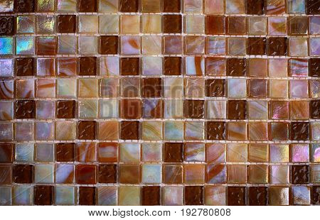 Mix shiny nacre glass mosaic in beige colors