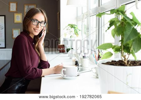 Woman At The Cafeteria Speak On Phone