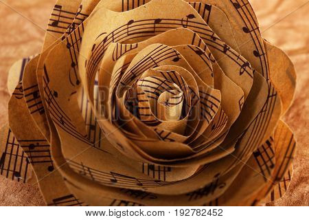 Beautiful rose made of music notes on textured paper closeup
