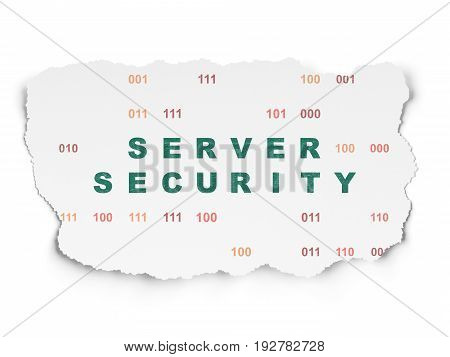 Protection concept: Painted green text Server Security on Torn Paper background with  Binary Code