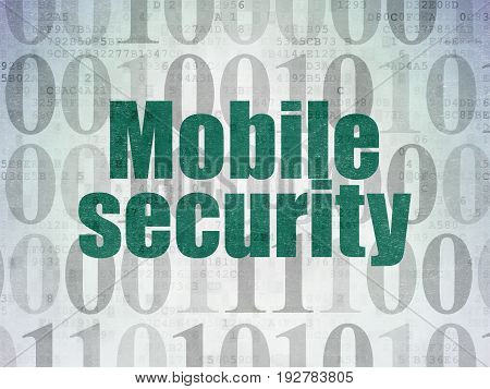 Safety concept: Painted green text Mobile Security on Digital Data Paper background with   Binary Code