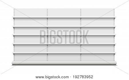 White empty vector store shelves. Realistic illustration.