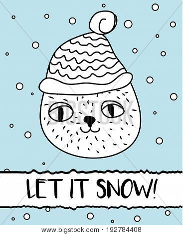 Doodle cat in winter knitted hat. Modern postcard flyer design template. Seasonal winter new year greeting card