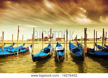 Gondola Parking, Venice - art toned picture