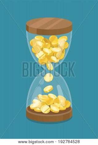 Hourglass with gold coins. Time is money.