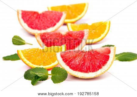 Orange Slices And Grapefruit And Mint Leaves