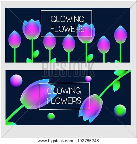 Horisontal banners design template. Vector banners with neon glowing holographic flowers.