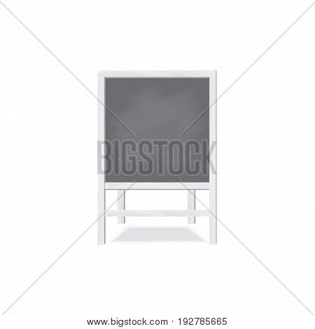 Square white wooden board for writing chalk on the legs. A stylish board for menus or for children's creativity. The front view. Vector illustration.