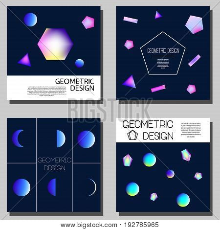 Geometric neon holographic cards. Cover design templates. Brochure cards flyers with abstract glowing shapes. Artistic advertisement for your business