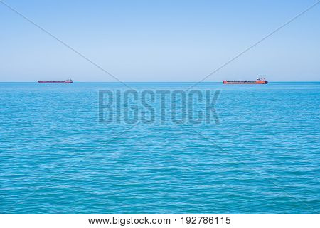 Two Tankers On The Horizon Of The Black Sea