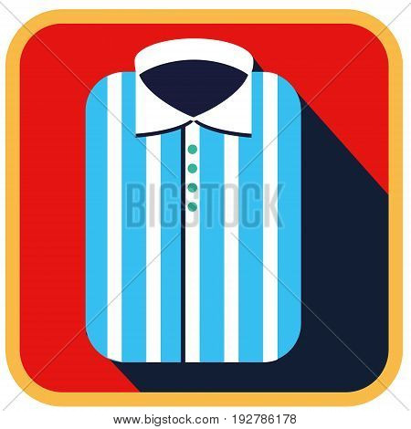 Fashionable striped Man shirt flat icon with long shadow. Vector illustration of male shirt