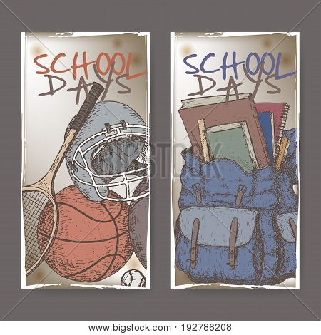 Two banners with school related sketches featuring sport gear and backpack. School memories collection. Great for school, education, retro design.