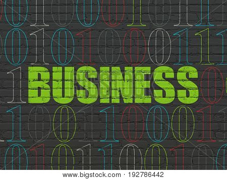 Finance concept: Painted green text Business on Black Brick wall background with Binary Code