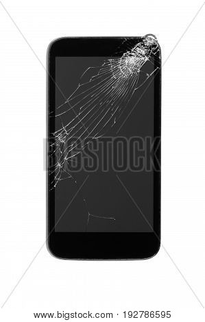 broken mobile smart phone with crashed touch screen isolated on white background